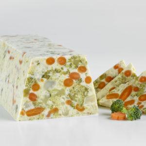 Terrine Masaïque de brocolis, choux fleur, carottes