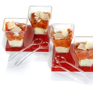 Verrines Crème pesto, tomates mi-séchées et parmesan 35g